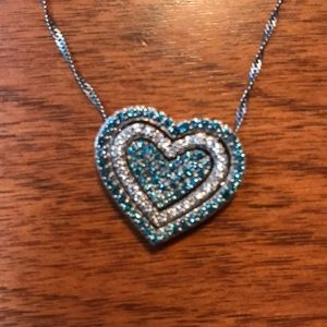 Jewelry - Whits and Blue Diamond Necklace w/14k Gold Chain